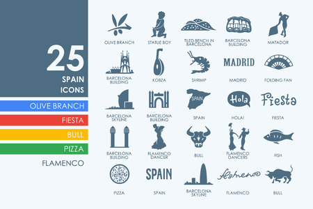 spanish architecture: Spain vector set of modern simple icons