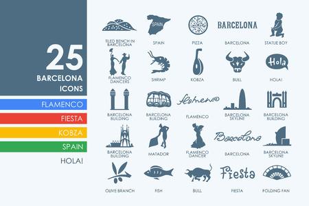 barcelone: Barcelone vecteur ensemble d'icônes modernes et simples