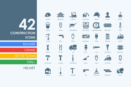 premises: construction vector set of modern simple icons