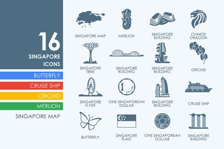 Singapore vector set van de moderne eenvoudige pictogrammen Stockfoto - 51608161