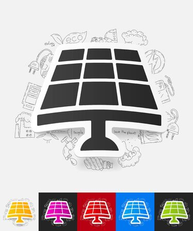 solar battery: hand drawn simple elements with solar battery paper sticker shadow
