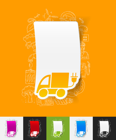 ecological adaptation: hand drawn simple elements with eco car paper sticker shadow
