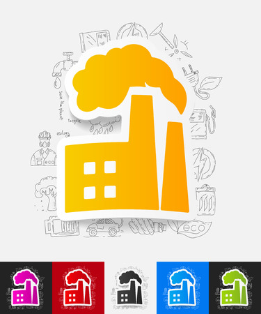 ecological adaptation: hand drawn simple elements with factory pipes paper sticker shadow