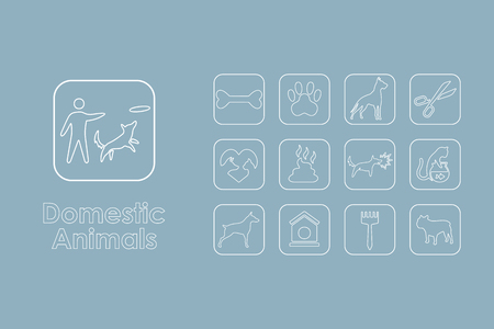 domestic animals: It is a set of domestic animals simple web icons