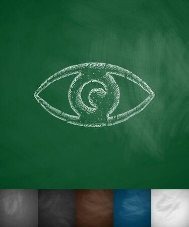 perimeter: eye icon. Hand drawn vector illustration. Chalkboard Design