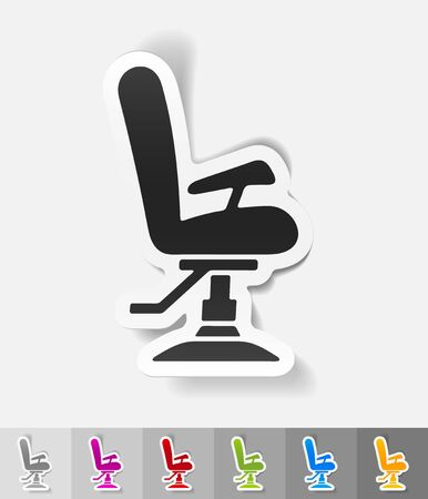 barber chair: barber chair paper sticker with shadow. Vector illustration