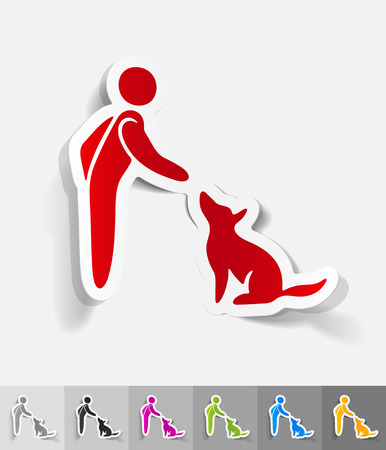 training dogs paper sticker with shadow. Vector illustration