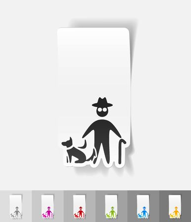 blind dog: old man and dog paper sticker with shadow. Vector illustration