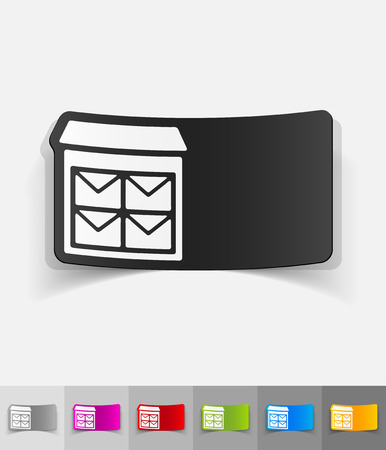 registered mail: letter-box paper sticker with shadow. Vector illustration
