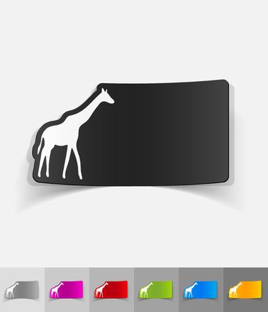 viviparous: giraffe paper sticker with shadow. Vector illustration