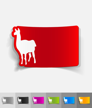 viviparous: lama paper sticker with shadow. Vector illustration