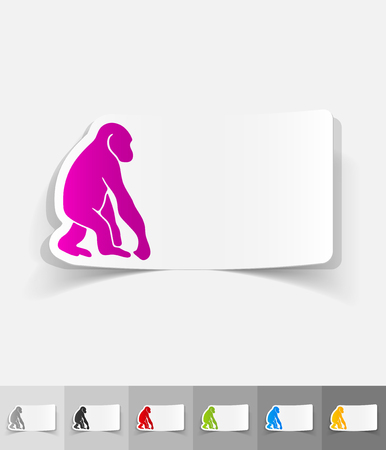 primate biology: monkey paper sticker with shadow. Vector illustration