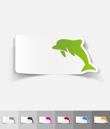 viviparous: dolphin paper sticker with shadow. Vector illustration Illustration