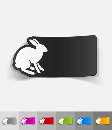 animal viviparous: hare paper sticker with shadow. Vector illustration Illustration