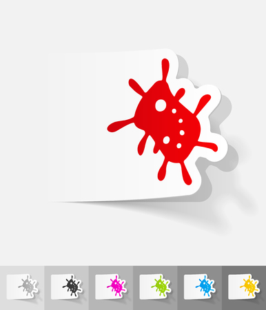 sterilization: bacterium paper sticker with shadow. Vector illustration