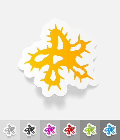 microbio: microbe paper sticker with shadow. Vector illustration