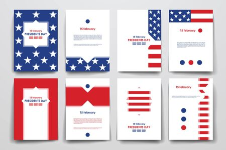 patriotic: Set of brochure, poster templates in Presidents Day style. Beautiful design and layout