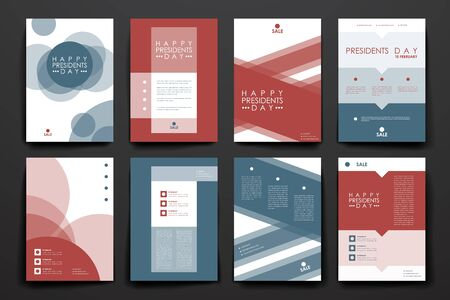 Set of brochure, poster templates in Presidents Day style. Beautiful design and layout