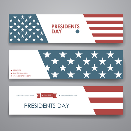 Set of modern design banner template in Presidents Day style. Beautiful design and layout