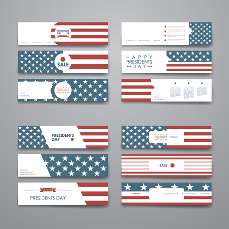 set design: Set of modern design banner template in Presidents Day style. Beautiful design and layout