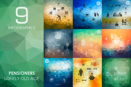 wrinkle: pensioners vector infographics with unfocused polygonal background Illustration