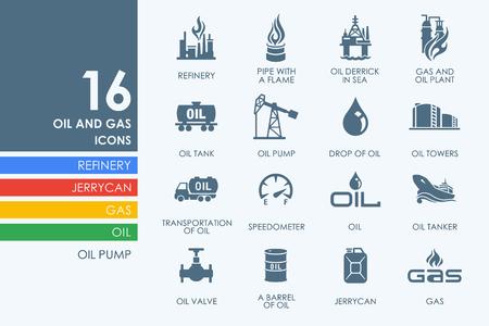 refiner�a de petr�leo: el petr�leo y el gas vector conjunto de iconos simples modernos