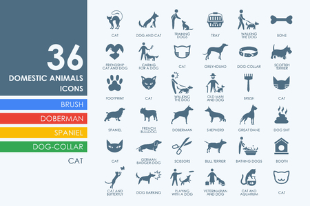 pets vector set of modern simple icons