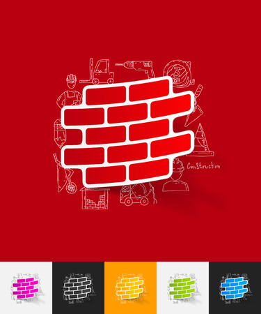 brick building: hand drawn simple elements with brick paper sticker shadow