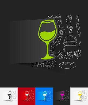 sourness: hand drawn simple elements with wineglass paper sticker shadow