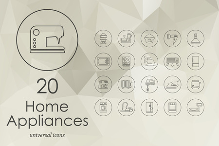 household appliances: household appliances modern icons for mobile interface on blurred background