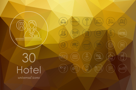 porter house: hotel modern icons for mobile interface on blurred background