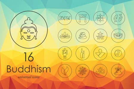 buddhism modern icons for mobile interface on blurred background