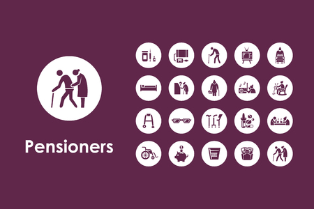 clipart wrinkles: It is a set of pensioners simple web icons Illustration