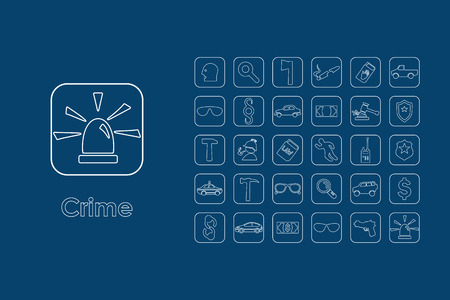 questioning: It is a set of crime simple web icons Illustration