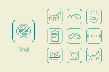 It is a set of diet simple web icons Ilustrace