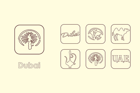 It is a set of Dubai simple web icons Illustration