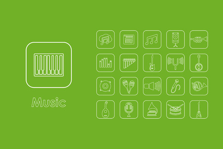 It is a set of music simple web icons Illustration