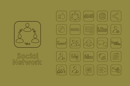 rapport: It is a set of social network simple web icons Illustration