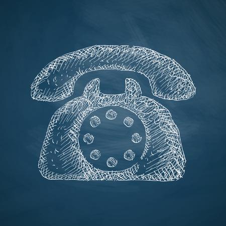 handdrawn: telephone icon Illustration