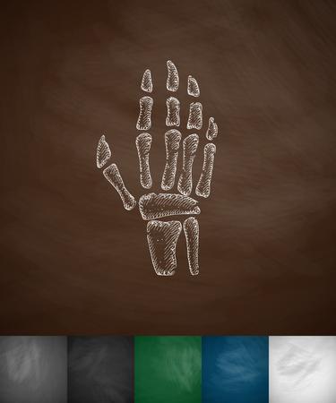 xray: X-ray hand icon. Hand drawn vector illustration. Chalkboard Design