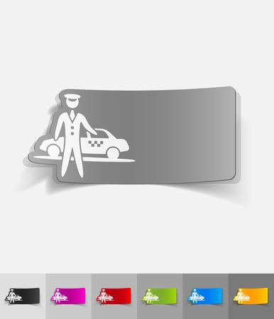 el aparcamiento y el papel del taxi pegatina con sombras. Ilustración vectorial