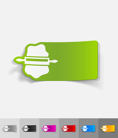 rolling paper: dough and rolling pin paper sticker with shadow. Vector illustration