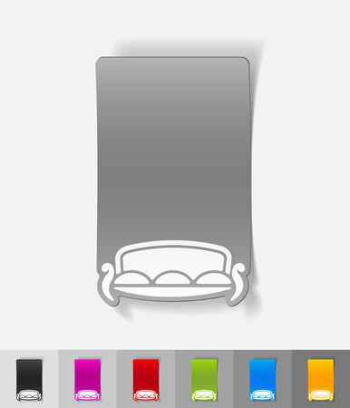 lie down: sofa paper sticker with shadow. Vector illustration
