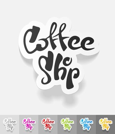 joyfulness: coffee shop paper sticker with shadow. Vector illustration