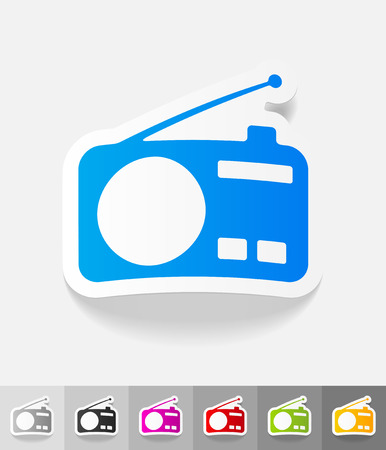 airwaves: radio paper sticker with shadow. Vector illustration