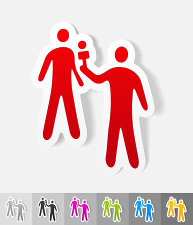 respondent: interviewer and the respondent paper sticker with shadow. Vector illustration Illustration
