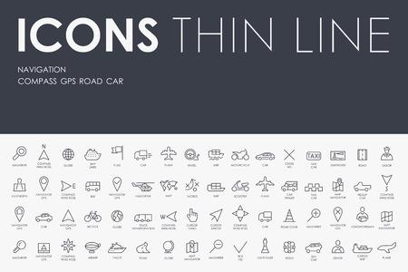 Stroke Thin ligne d'icônes de navigation sur fond blanc