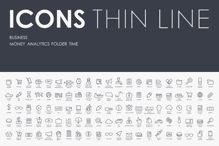 Thin Stroke Line Icons of business on White Background