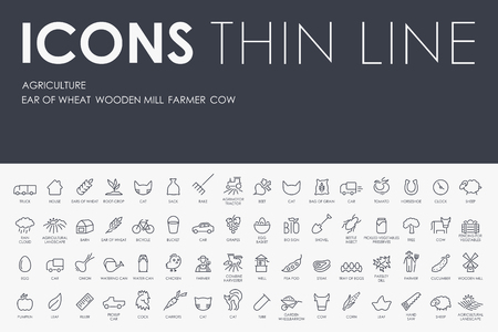 Thin Stroke Line Icons of agriculture on White Background