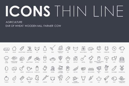 Dunne Stroke Lijn Iconen van de landbouw op een witte achtergrond